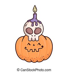 halloween, cute pumpkin and skull with candle, on white background