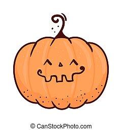 halloween cute pumpkin icon in white background