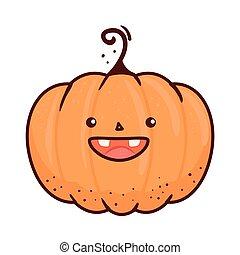 halloween cute pumpkin icon, in white background