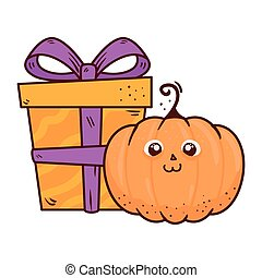 halloween, cute pumpkin with gift box, on white background