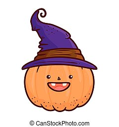 halloween cute pumpkin with hat witch, in white background