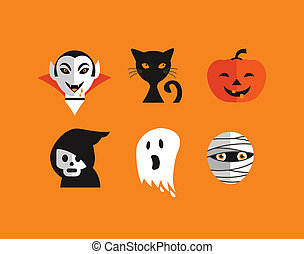 Halloween cute set of icons