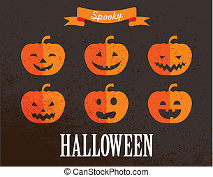 Halloween cute set of pumpkin icons