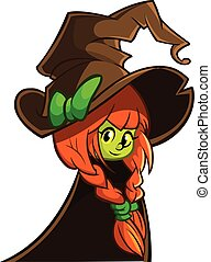 Vector illustration of a cute witch in big hat. Cartoon Halloween character