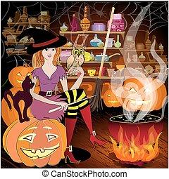 halloween, czarodziejka, przygotowując
