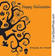 halloween, décoration, arbre