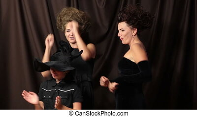 Halloween Dance - Dancing at a Halloween Party. Three...