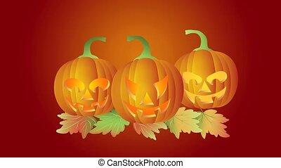 Halloween Dancing Carved Pumpkins