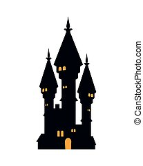 halloween dark castle with cross