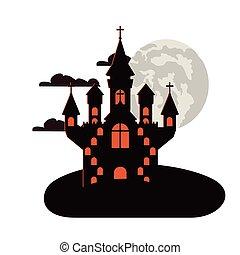 halloween dark castle with moon night scene icon