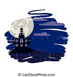 halloween dark castle with moon scene
