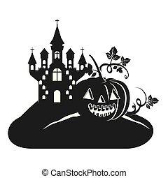 halloween dark castle with pumpkin scene icon