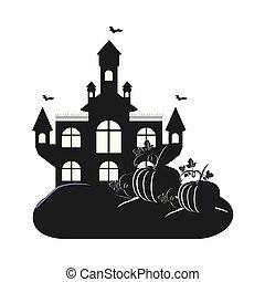 halloween dark castle with pumpkins scene icon