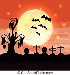 halloween dark cemetery night scene with bats flying