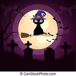 halloween dark cemetery scene with cat