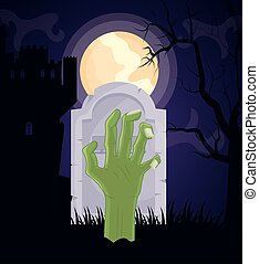 halloween dark cemetery scene with sombie hand vector illustration design