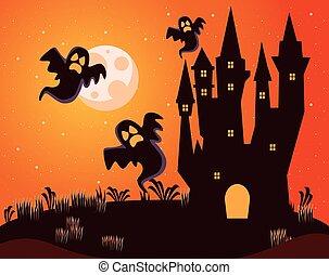 halloween dark haunted castle with ghosts at night scene