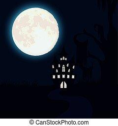 halloween dark night scene with castle