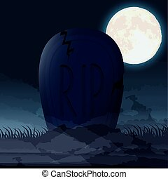 halloween dark night scene with cemetery graveyard