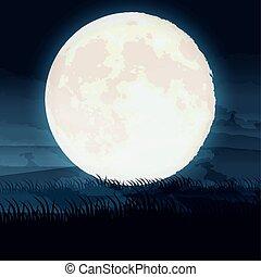 halloween dark night scene with full moon