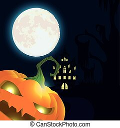 halloween dark night scene with pumpkin and castle