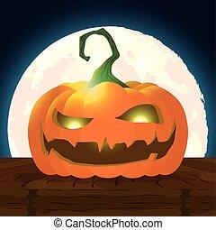 halloween dark night scene with pumpkin
