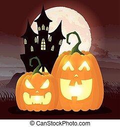 halloween dark night scene with pumpkins and castle