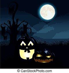 halloween dark night scene with pumpkins