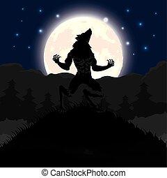 halloween dark night scene with werewolf