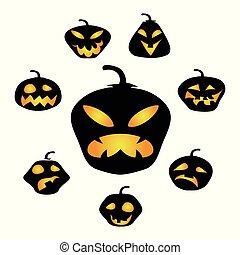 Halloween dark pumpkin face vector background
