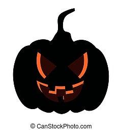 halloween dark pumpkin icon, in white background