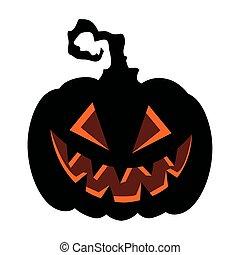 halloween dark pumpkin icon in white background