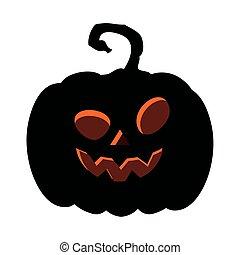 halloween dark pumpkin icon, on white background