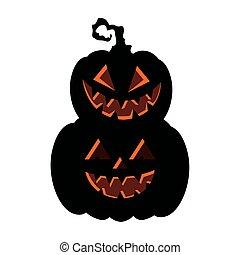 halloween dark pumpkins icons in white background