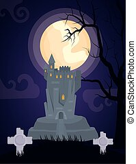 halloween dark scene castle in cemetery