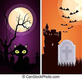 halloween dark scene castle with cat