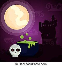 halloween dark scene castle with cauldron