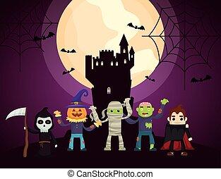 halloween dark scene castle with characters