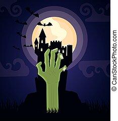 halloween dark scene castle with hand sombie vector illustration design