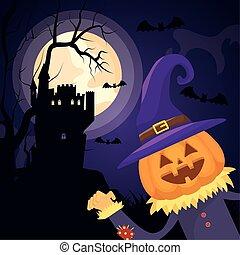 halloween dark scene castle with pumpkin character