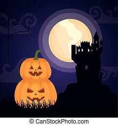 halloween dark scene castle with pumpkins