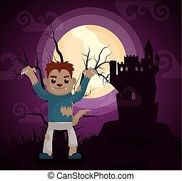 halloween dark scene castle with werewolf