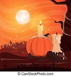 halloween dark scene with candle in dark night