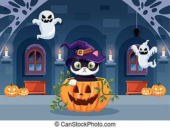 halloween dark scene with cat in pumpkin