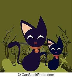 halloween dark scene with cat