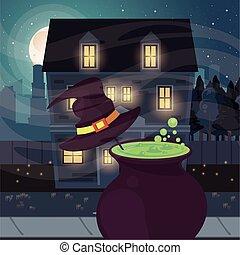 halloween dark scene with cauldron witch