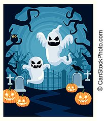 halloween dark scene with ghosts and pumpkins in cemetery