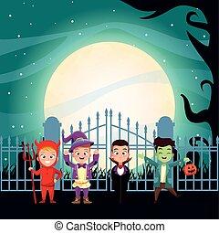 halloween dark scene with kids disguised characters