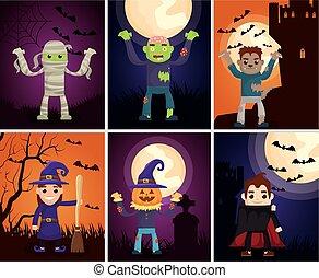 halloween dark scene with monsters characters