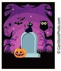halloween dark scene with pumpkin and graveyard